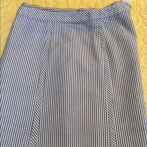 Talbots blue and white seersucker skirt